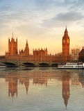 Londyński zmierzch ben duży domów parlament Obrazy Royalty Free