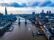 Londyńskiego pejzażu miejskiego powietrzna fotografia Zdjęcia Stock