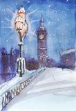 Londyńskiej nocy widoku uliczny obraz, streetlamp i Big Ben, ilustracji