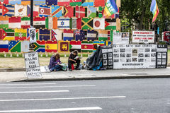 Londyński aktywisty stojak na parlamentu kwadracie Obraz Royalty Free