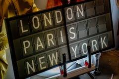 Londyński Paryski Nowy York lotniskowy panel Obraz Royalty Free