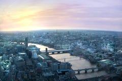 Londyński zmierzchu widok od czerepu Zdjęcia Stock