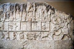 29 07 2015, LONDYN, BRITISH MUSEUM - egipcjanin rzeźbił scenę fotografia stock