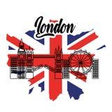 Londyn flaga England toruism podróży punktu zwrotnego symbol ilustracja wektor