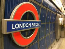 Londyn mosta tubki znak Obrazy Royalty Free
