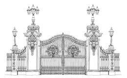 Londyn, nakreślenie kolekcja, pałac buckingham brama Obrazy Stock