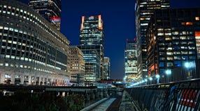 Londyn nocą - Canary Wharf Obraz Royalty Free