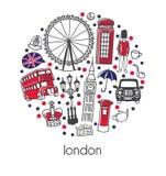 Londyn Nowożytna wektorowa ilustracja z sławnymi angielskimi symbolami i przyciąganiami z czerwienią, błękit, czerni kropki w okr ilustracji