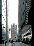 Londyn przerzuca most widzii od biuro banka strony Zdjęcie Royalty Free