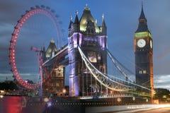 Londyn, UK: Basztowy most, Big Ben, Londyński oko wcielał strzał Zdjęcia Royalty Free
