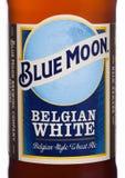 LONDYN, UK - CZERWIEC 01, 2018: Butelkuje etykietkę Błękitnej księżyc belgijski biały piwo, warzącą MillerCoors na bielu Obrazy Stock