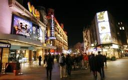 Noc uliczny widok Leicester kwadrat obrazy royalty free