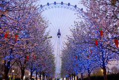 LONDYN, UK - KWIECIEŃ 5, 2014: Noc widok Londyński oko, Londyn UK Zdjęcia Royalty Free