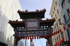 LONDYN, UK - Luty 16, 2018: Brama Chinatown w Londyn Przy czasem Chiński nowego roku świętowanie obraz stock