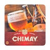 LONDYN, UK - LUTY 04, 2018: Chimay beermat piwny kabotażowiec odizolowywający na bielu Zdjęcia Royalty Free