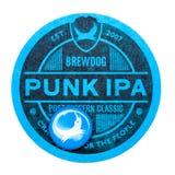 LONDYN, UK - MARZEC 01, 2018: Brewdog ipa punkowego rzemiosła beermat piwny oryginalny kabotażowiec odizolowywający na bielu Obraz Stock