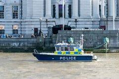 LONDYN, UK - Październik 17th, 2017: Thames rzeki rezerwy patrolu milicyjna łódź dla nagłego wypadku Zdjęcia Royalty Free
