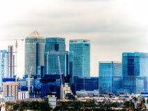 LONDYN, UK - 16TH 2015 LUTY: Canary Wharf budynki w Londyn Zdjęcie Stock