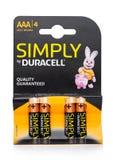 LONDYN, UK - WRZESIEŃ 24, 2017: Paczka AAA Duracell baterie, Duracell jest Amerykańskim gatunkiem Zdjęcia Stock