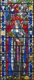 LONDYN, WIELKI BRYTANIA - 2017: St Brigid Kildare na witrażu w kościół St Etheldreda Joseph E Nuttgens fotografia royalty free