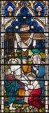 LONDYN WIELKI BRYTANIA, WRZESIEŃ, - 19, 2017: Świadkowanie krzyż na witrażu w St opata ` s Maryjnym kościół Zdjęcia Royalty Free