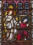 LONDYN WIELKI BRYTANIA, WRZESIEŃ, - 19, 2017: Apparition Jezus St Paul na witrażu w St opata ` s Maryjnym kościół Fotografia Royalty Free