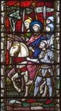 LONDYN WIELKI BRYTANIA, WRZESIEŃ, - 19, 2017: Aresting St Paul na witrażu w St opata ` s Maryjnym kościół Obraz Royalty Free