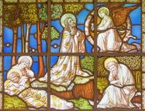 LONDYN WIELKI BRYTANIA, WRZESIEŃ, - 20, 2017: Jeus modlitwa w Gethsemane ogródzie na witrażu w kościół St Pancras obrazy stock