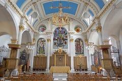 LONDYN WIELKI BRYTANIA, WRZESIEŃ, - 14, 2017: Nave kościelny St Mary Le Kłaniający się Obrazy Stock