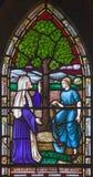 LONDYN WIELKI BRYTANIA, WRZESIEŃ, - 19, 2017: Parabola figi drzewo na witrażu w St opata ` s Maryjnym kościół Fotografia Royalty Free