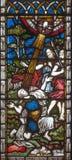 LONDYN WIELKI BRYTANIA, WRZESIEŃ, - 19, 2017: Zamiana St Paul na witrażu w St opata Maryjnym ` s Fotografia Stock