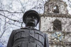 Londyn, Wielki Londyn, 7th 2019 Luty, szczegół statua upamiętniać Arthur Harris bombowiec rozkaz, raf obrazy stock
