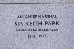 Londyn, Wielki Londyn, 7th 2019 Luty, szczegół statua upamiętniać Lotniczego Marshall Keith parka bitwa Brytania zdjęcia stock