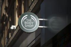 Londyn, Wielki Londyn, Zjednoczone Królestwo, 7th 2018, A znak i logo dla Body Shop sklepu Luty, zdjęcie royalty free