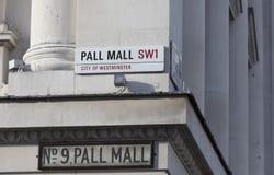 Londyn, Zjednoczone Królestwo, Luty 7th 2019, znak dla Pall Mall zdjęcia royalty free
