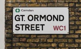 Londyn, Zjednoczone Królestwo, Luty 17, 2018: Wielki Ormond znak uliczny Obrazy Royalty Free