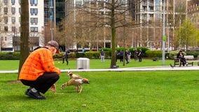 Londyn, Zjednoczone Królestwo/- 03/21/2019: mężczyzny karmienie nurkuje w London parku obrazy royalty free