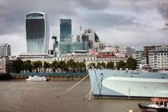 Londyn, Zlany królestwo - Wrzesień 2017: widok z lotu ptaka rzeka podczas dzwi otwarty w Londyn obraz royalty free