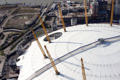 Londyński o2 areny i docklands linii horyzontu widok od above Zdjęcie Royalty Free