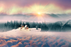 Lone Alpine monastery Royalty Free Stock Image