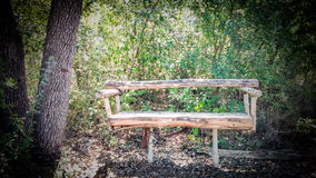Lone Bench. At the Greenbelt Trail in San Marcos, Texas. Chillin. Is this seat taken Royalty Free Stock Image