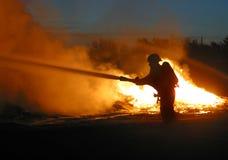 lone brandman Fotografering för Bildbyråer