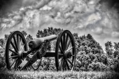 Lone Cannon Sitting on a Battlefield in Black and White HDR royalty free stock image