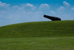 Lone Canon. At on a hill Fort McHenry in Baltimore Maryland. During the War of 1812, the canons at the fort defended the Baltimore harbor and stopped a British stock photos