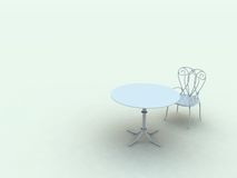 Lone Chair and Table. An empty white enviroment with a single white breakfast chair and round table Royalty Free Stock Images