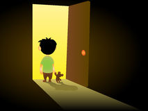 Lone child stands at the door. At night with a toy in his hand Royalty Free Stock Photos