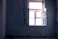 Lone Cold Ruined Forbidden Room SunLight from Window royalty free stock photography