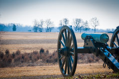 Lone Confederate Canyon overlooks Field. Photograph of a lone cannon pointed towards the Union line at Gettysburg Stock Photography