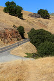A lone cyclist climbing up a mountain. A single cyclist climbs Mt. Tamalpais in Marin County. The brown ground flanks him on both sides. A clear blue sky fills Stock Images