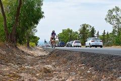 Lone Cyclist La Vuelta España Royalty Free Stock Photos